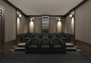 In home movie theater seating in custom home